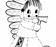 Coloring pages Vintage Little Indian