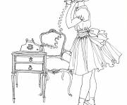 Coloring pages Vintage on the phone
