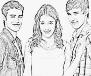 Coloring pages Violetta with Characters Surrounding the Heroine
