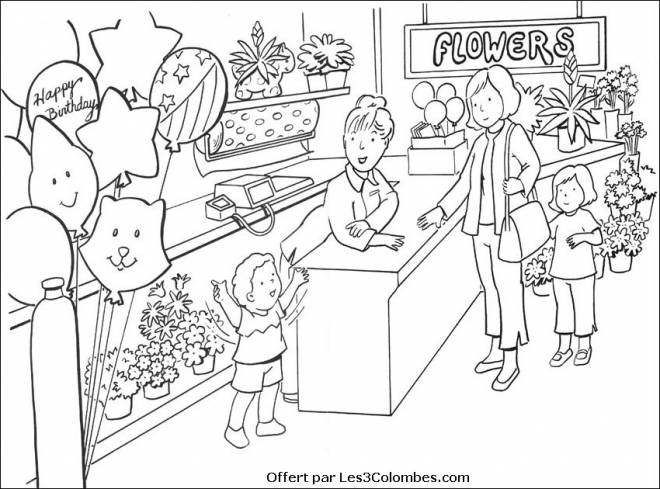 Free coloring and drawings A Colored Florist Coloring page