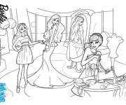 Coloring pages Barbie at the Girl's Store