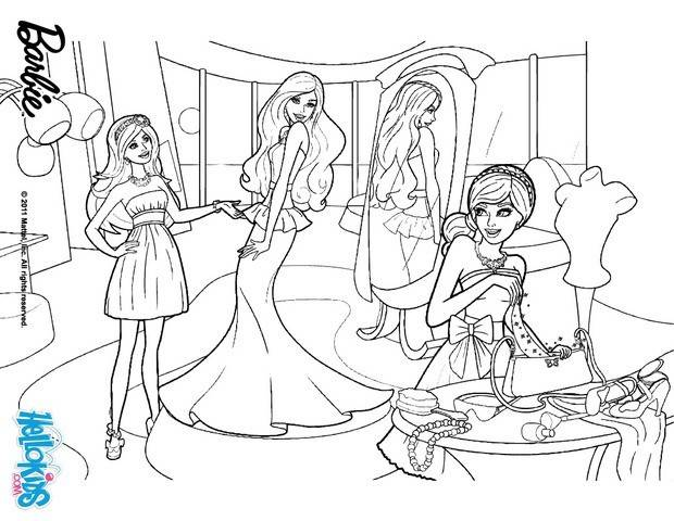 Free coloring and drawings Barbie at the Girl's Store Coloring page