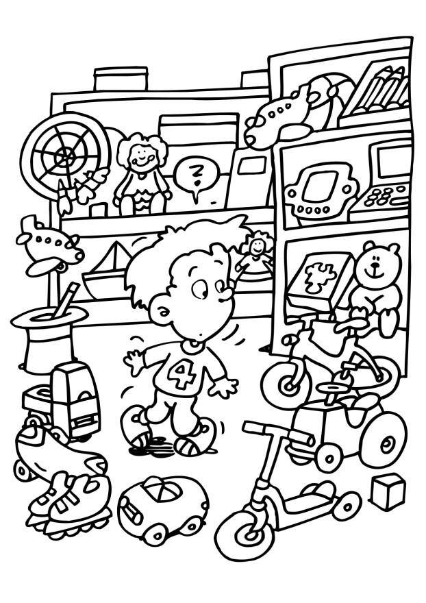 Free coloring and drawings Child in the Toy Store Coloring page