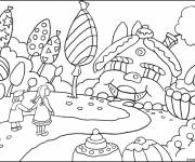 Coloring pages Children and Sweets everywhere