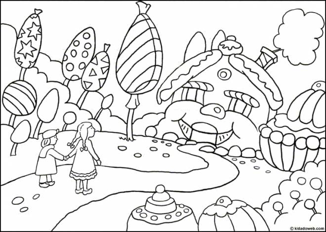 Free coloring and drawings Children and Sweets everywhere Coloring page