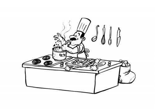 Free coloring and drawings Cook and enjoy his work Coloring page