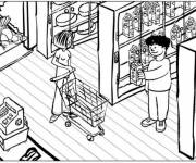 Coloring pages Customers in the Supermarket to buy