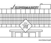 Coloring pages Facade of a supermarket