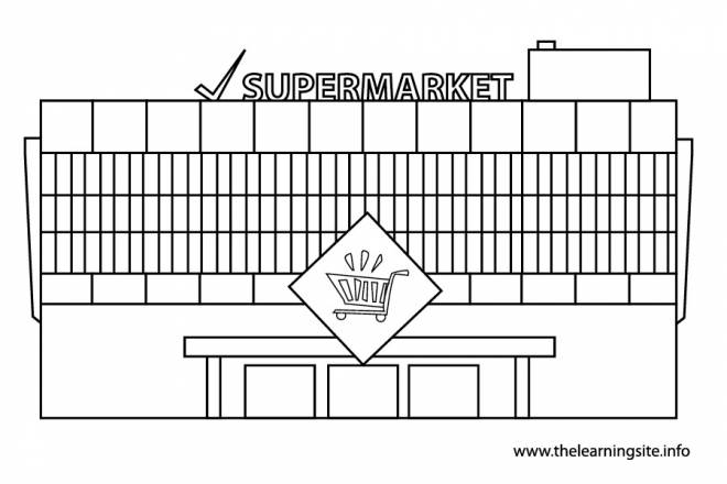Free coloring and drawings Facade of a supermarket Coloring page