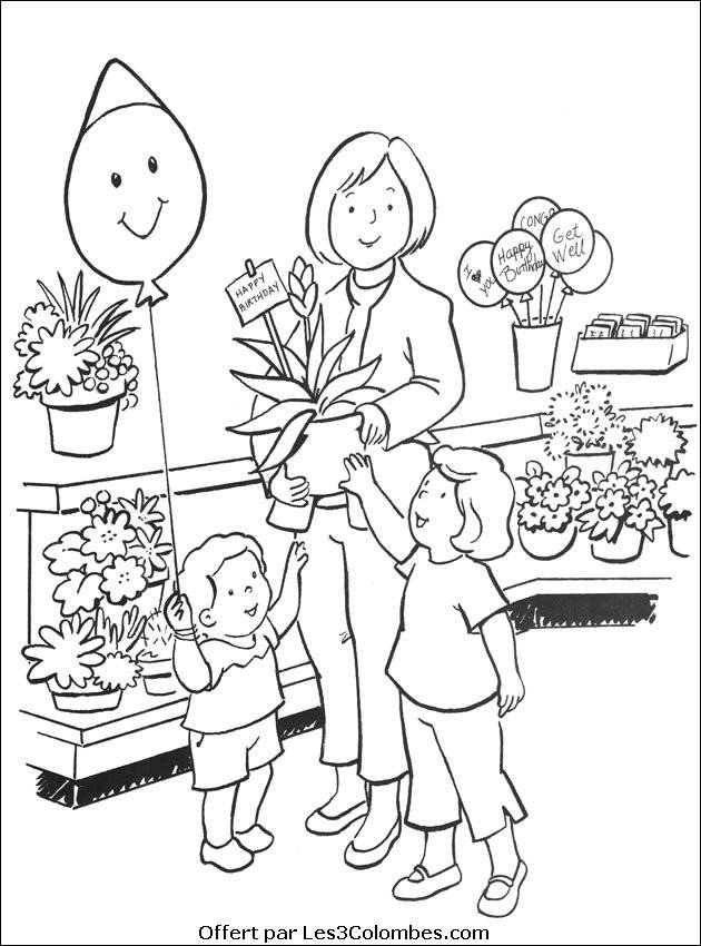 Free coloring and drawings Flower shop Coloring page