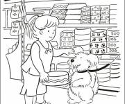 Coloring pages Kristin buys a Bowl for her Dog