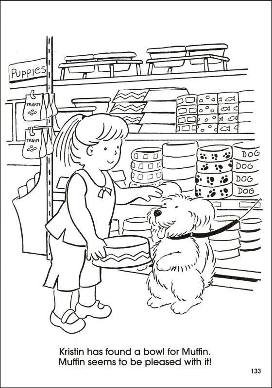 Free coloring and drawings Kristin buys a Bowl for her Dog Coloring page