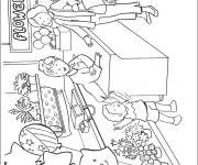 Coloring pages Mom at the store to buy flowers