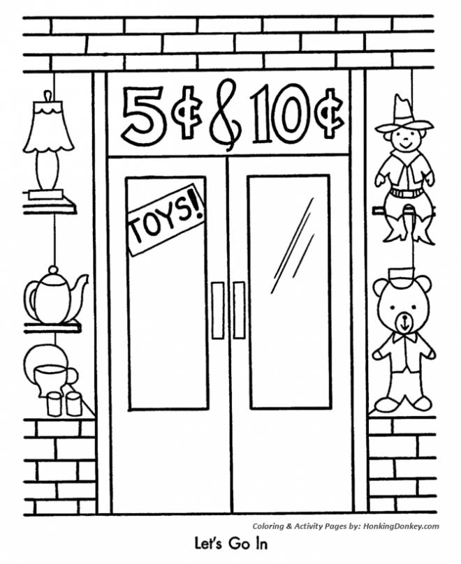 Free coloring and drawings Promotional Toy Store Coloring page