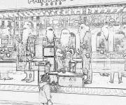 Coloring pages Realistic Christmas store