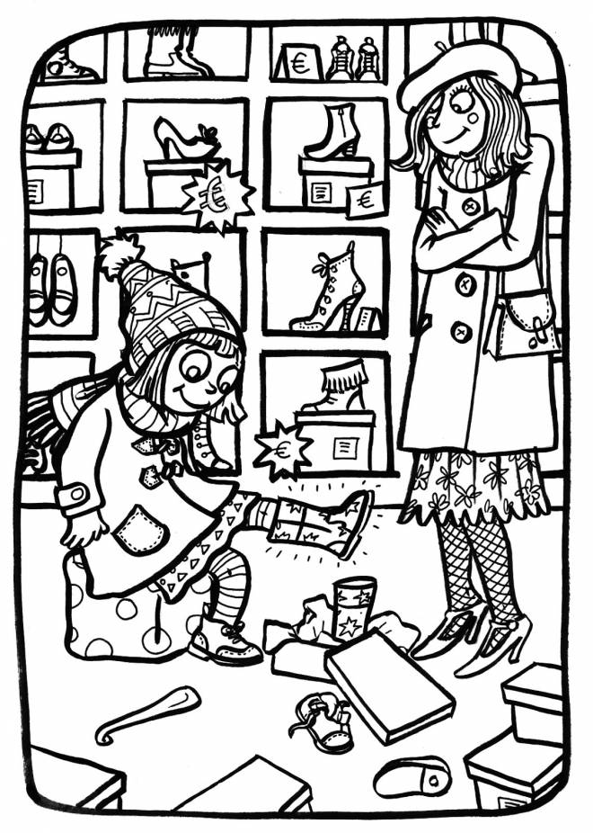 Free coloring and drawings Shoe shop Coloring page