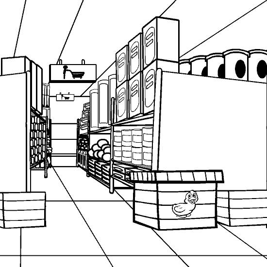 Free coloring and drawings Store shelves Coloring page