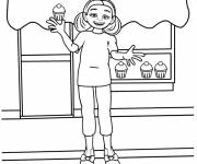 Coloring pages The girl in front of the bakery