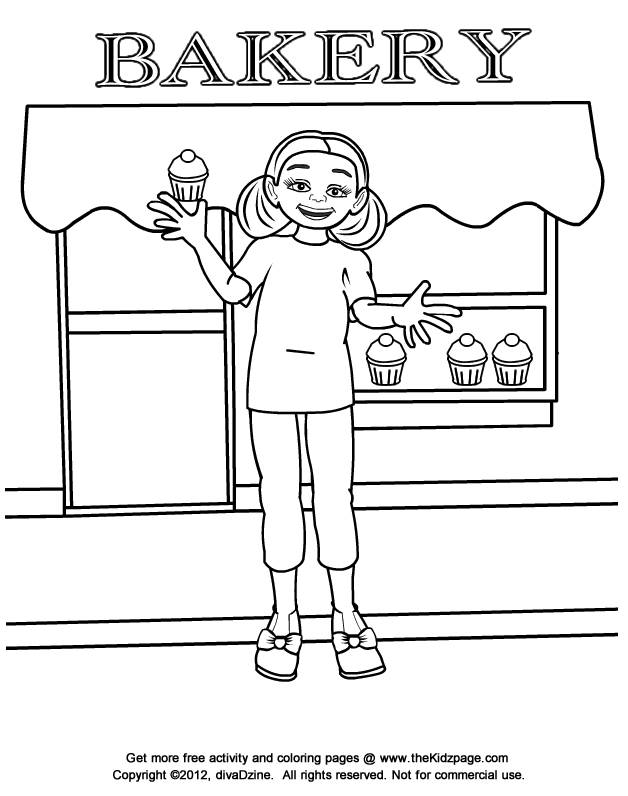 Free coloring and drawings The girl in front of the bakery Coloring page