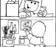 Coloring pages The little girl buys at the store