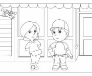 Coloring pages The Little Handyman in front of his Store