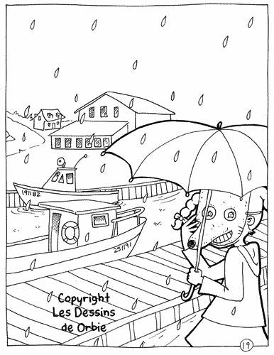 Free coloring and drawings The Mouse in the Rain Coloring page