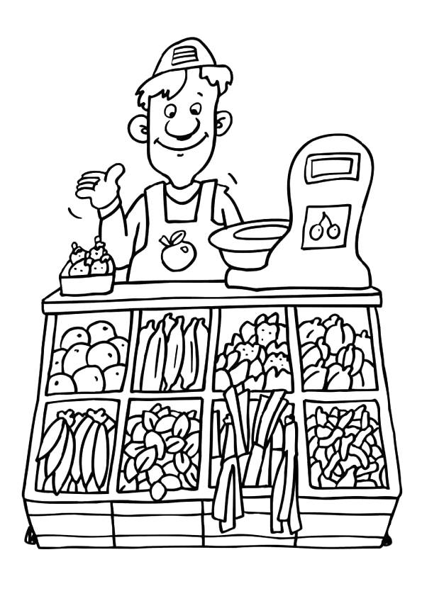 Free coloring and drawings The Vegetable Seller Coloring page