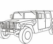 Free coloring and drawings Military Hummer vehicle Coloring page