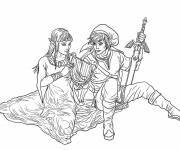Coloring pages Link and Zelda in love