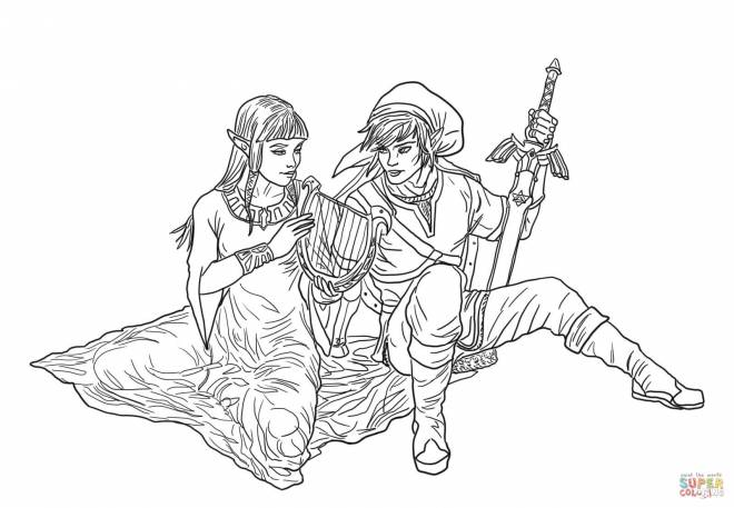 Free coloring and drawings Link and Zelda in love Coloring page
