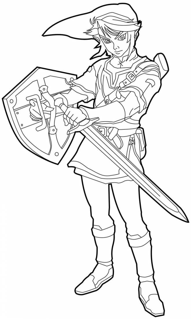 Free coloring and drawings Link Breath Of The Wild Coloring page
