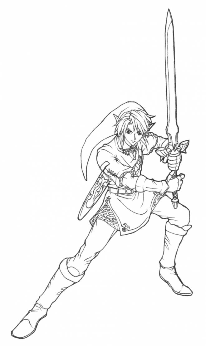 Free coloring and drawings Nintendo link for children Coloring page