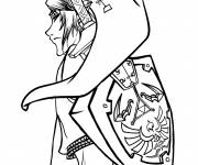 Coloring pages Portrait Link on computer