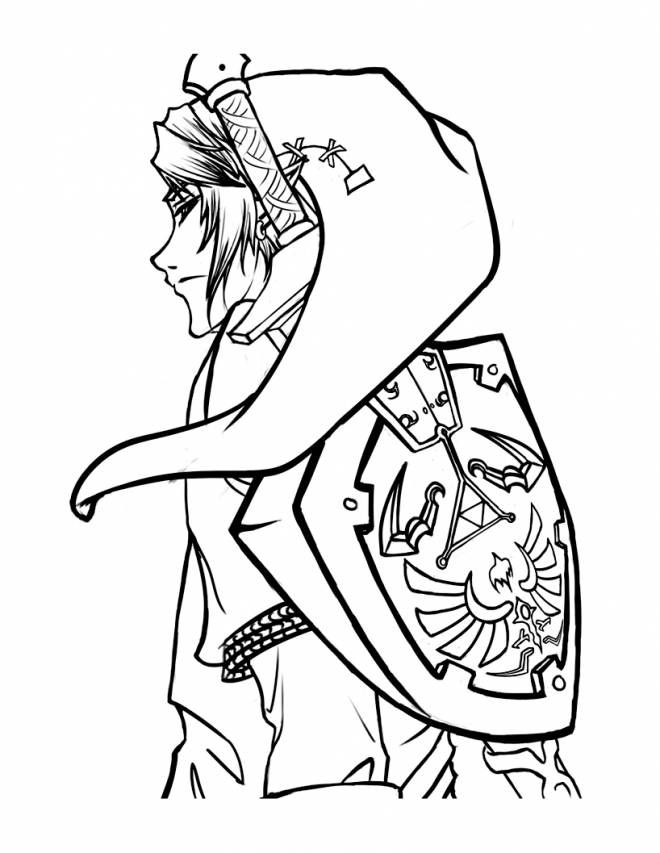 Free coloring and drawings Portrait Link on computer Coloring page