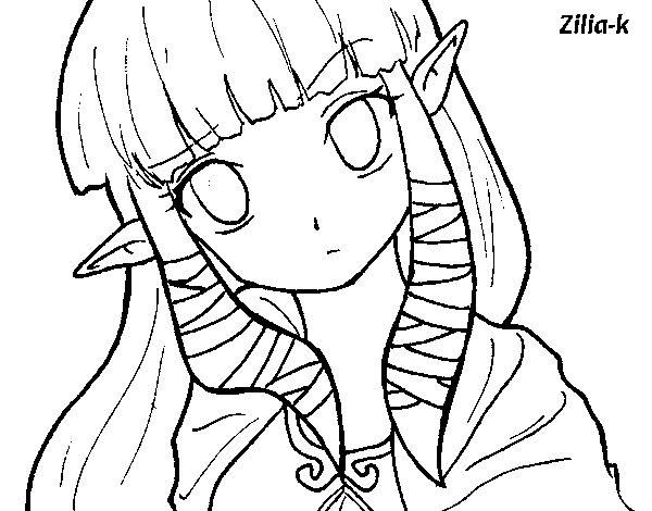 Free coloring and drawings Portrait of cute Zelda Coloring page