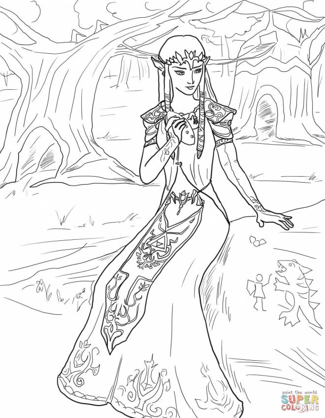 Free coloring and drawings Portrait of Princess Zelda Coloring page