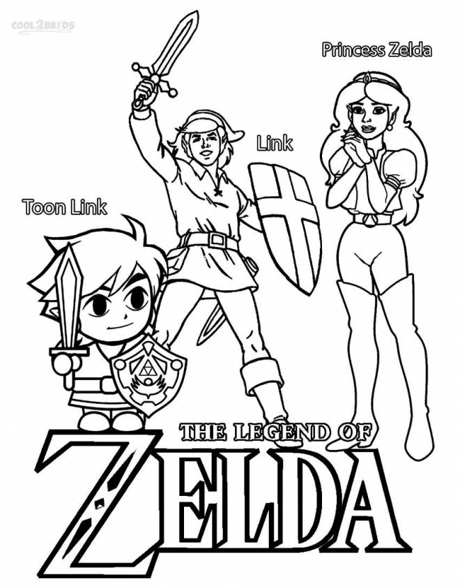 Free coloring and drawings Princess Zelda and Toon Link Coloring page