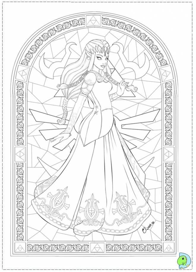 Free coloring and drawings Princess Zelda decoration Coloring page