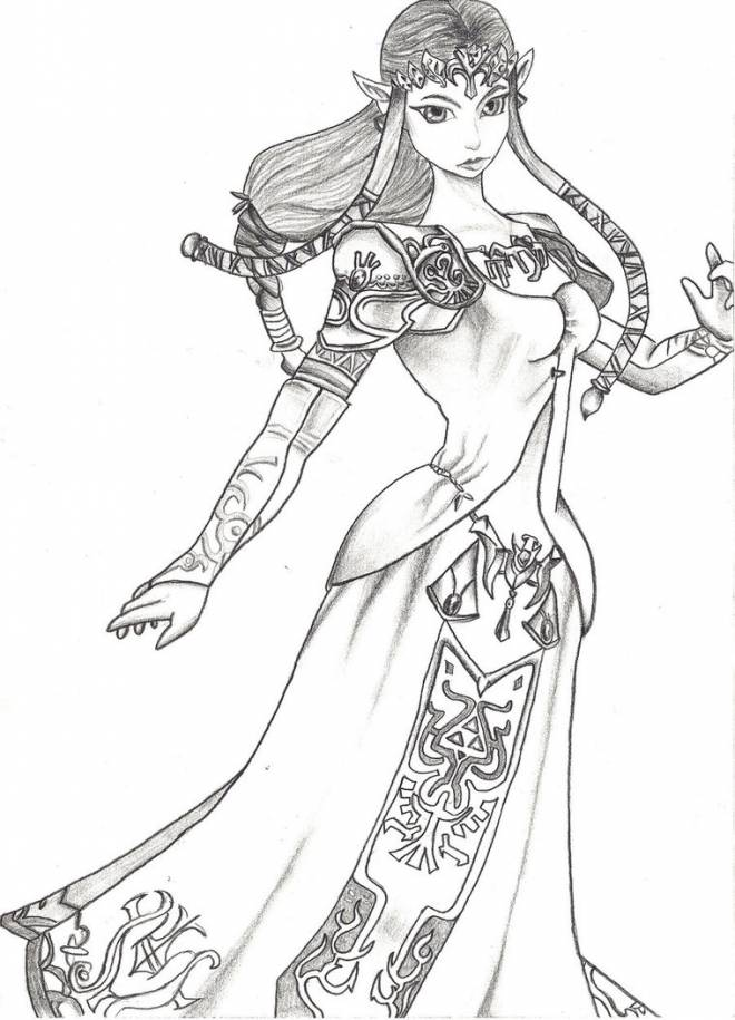 Free coloring and drawings Princess Zelda in pencil Coloring page