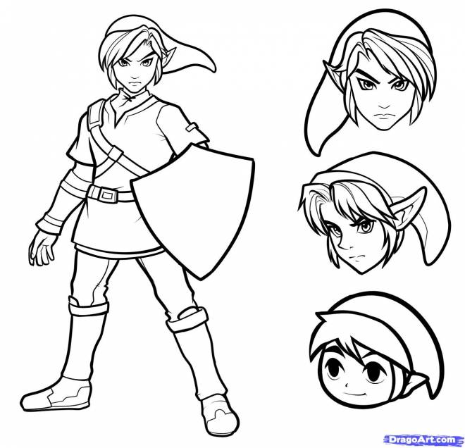 Free coloring and drawings Sélection Link The Legend of Zelda Coloring page