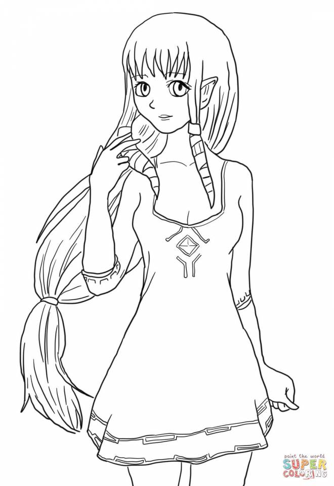 Free coloring and drawings The Beautiful Princess Zelda Coloring page