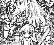 Coloring pages Toon Link and Zelda