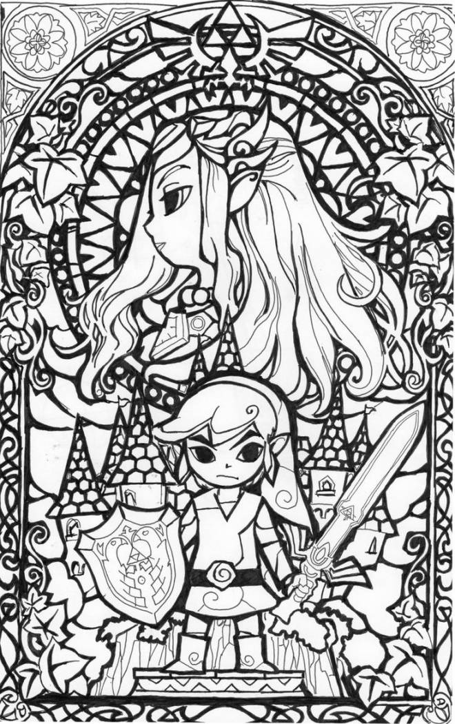 Free coloring and drawings Toon Link and Zelda Coloring page
