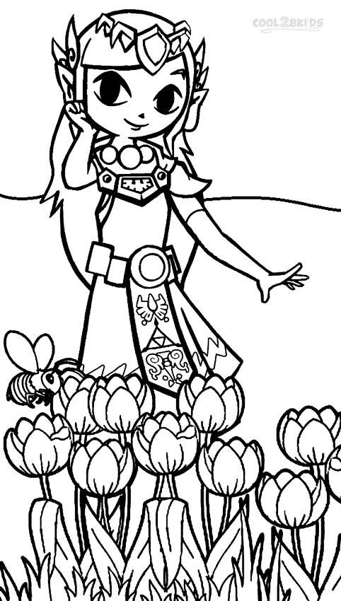 Free coloring and drawings Toon Zelda smiling Coloring page