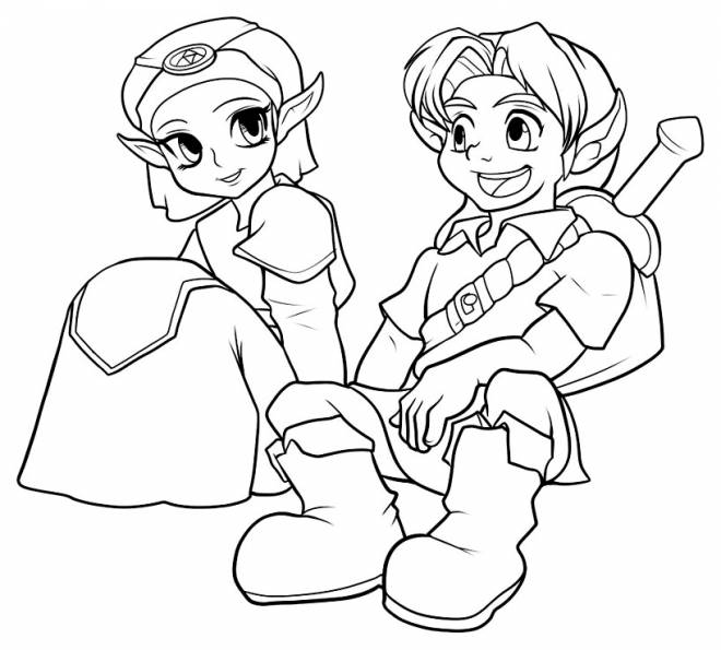 Free coloring and drawings Zelda and Link Coloring page