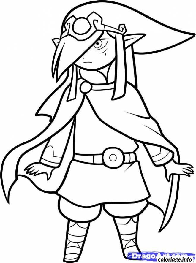 Free coloring and drawings Zelda Character in vector Coloring page