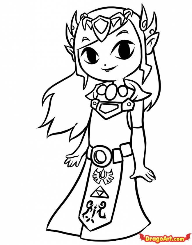Free coloring and drawings Zelda for children Coloring page