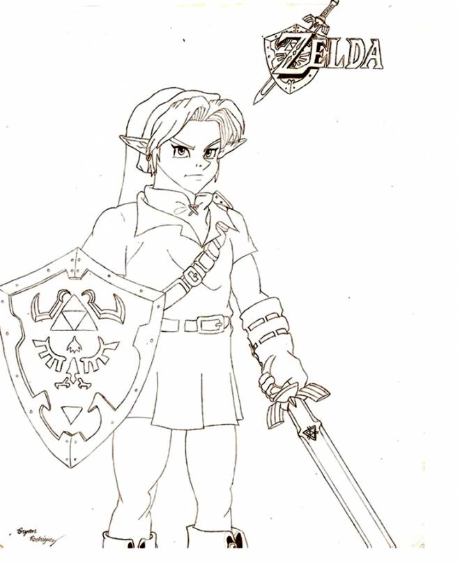 Free coloring and drawings Zelda for cutting Coloring page