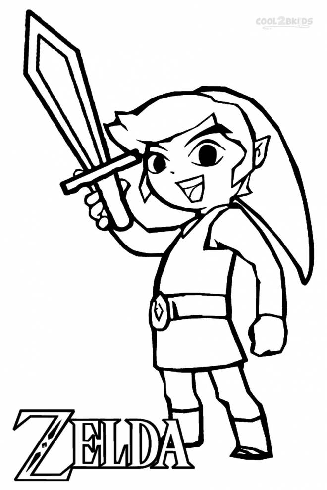Free coloring and drawings Zelda Link easy Coloring page