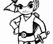 Coloring pages Zelda Link in black and white